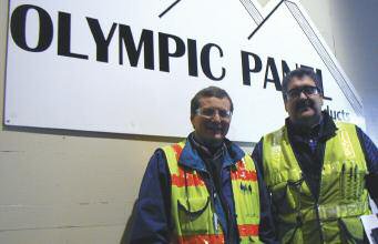Plywood operations manager Ken Pratt (left) alongside QA-CPM technical manager Bob Griffith