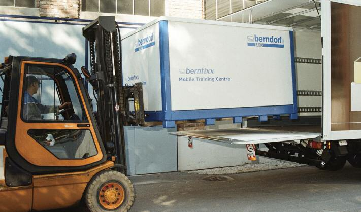 The Bernfixx mobile training centre being loaded on a truck to go to a customer's factory
