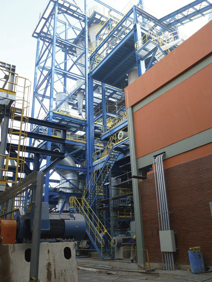 A view of the new energy plant of Eucatex's 350,000m3/year Salto MDF/HDF line