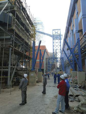 The scene at Salto in July as workers complete erection of new MDF/HDF line beside existing hardboard plant