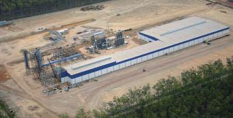 A view of the 120,000m3/year Floraplac MDF plant under construction in Paragominas, Par state in northern Brazil
